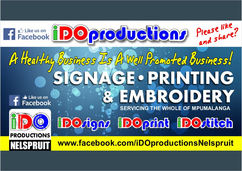 Like Us on Facebook iDOproductions Nelspruit